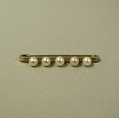 Art Deco Vintage 9K Gold & Cultured Pearl Bar Brooch C.1930