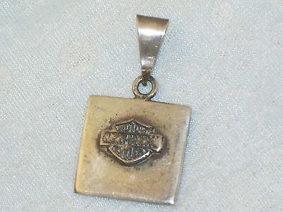 Vintage Sterling HARLEY DAVIDSON Motor Cycles Square PENDANT Silver Cycle Mexico
