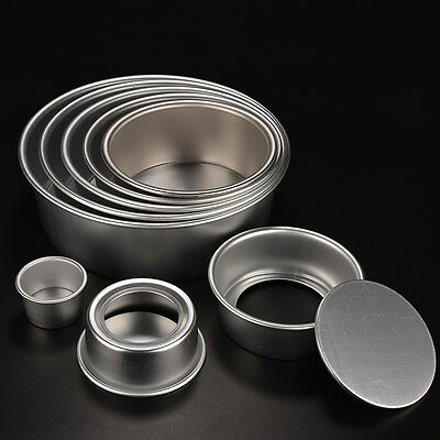 8 Size Aluminum Alloy Removable Bottom Round Cake Bake Mould Pan Bakeware Tool #