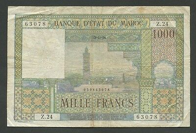 MOROCCO - 1000 francs  1956  P47  about Fine  ( World Paper Money )