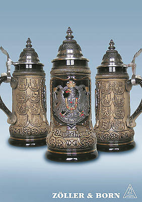 GERMAN BEER STEIN, 0,25 l pewter relief german eagle crests nature with lid NEW