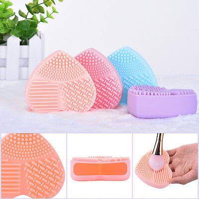 Women Heart Shaped Silicone Multi Texture Surface Make Up Brush Cleaning Tool