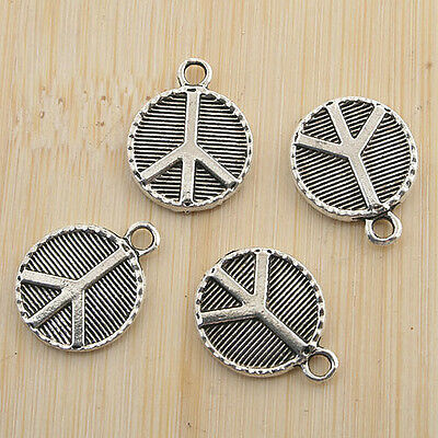 26pcs antiqued silver round two sides peace sign pendant G1461