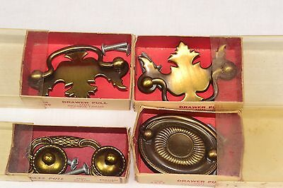 Lot of 4 NOS Vintage Brass Ornate Drawer Pulls in Box