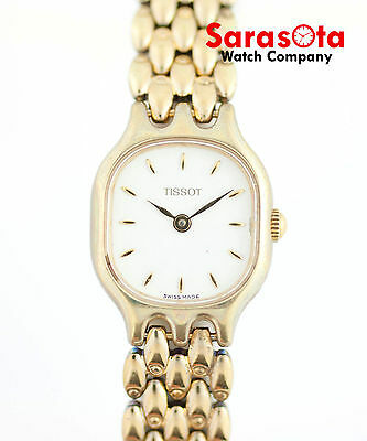 Vintage Tissot White Dial Gold Tone Stainless Steel Swiss Quartz Women's Watch