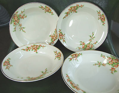 """SET of FOUR Taylor Smith Taylor TST ACACIA PATTERN 7.75"""" SOUP BOWLS Exc Cond"""