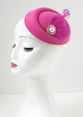 Hot Pink White Silver Feather Pillbox Fascinator Hat Races Vintage Hair Clip 137