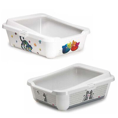 Cat Large Litter Tray With Rim 51x39x19cm 2 Designs Quality Box Pan Toilet Loo