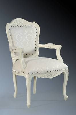 Shabby Chic Boudoir Mahogany French Period Ivory White Throne Armchair Chair