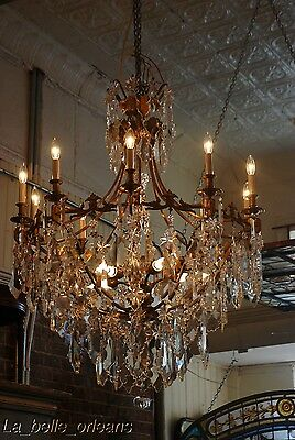 French Crystal Chandelier 15 Lights. 5 Ft Tall , Must See!!