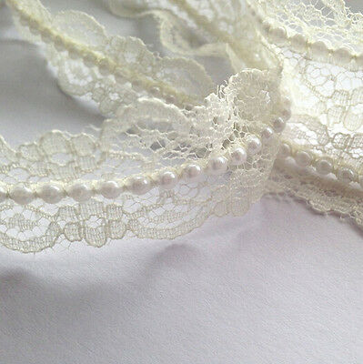 10M* 20mm Vintage Style Lace Pearl Ribbon Trim Bridal Wedding (Ivory)