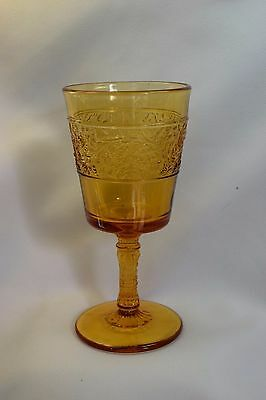Old  EAPG Pattern Glass Amber Footed Stem Wine Goblet