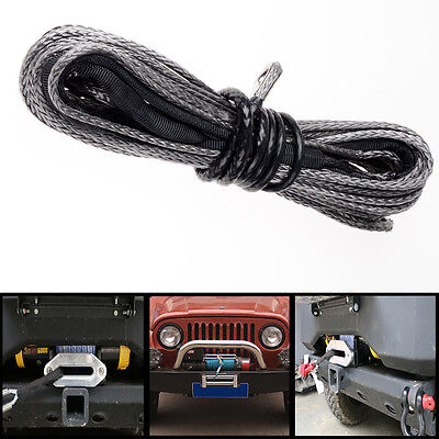 """Car SUV Recovery Replacement 50'1/4""""Dyneema Synthetic Winch Rope Cable 6400 LBs"""