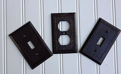 2 Vintage Bakelite Ribbed Brown Single Toggle Switch Plate and 1 Double Outlet