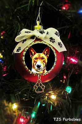 Basenji Dog -Painted Christmas Ball Ornament Pet Lovers Gift by TJS Furbabies