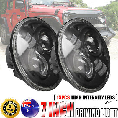 2x7inch 200W CREE H4 Hi-Lo BEAM LED Driving Headlight Offroad For Jeep Wrangler