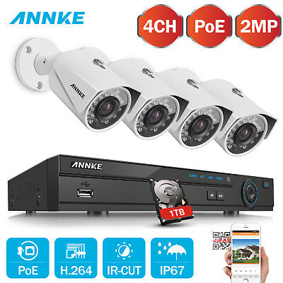 ANNKE 8CH NVR 1080P HD 2.0MP PoE IP Home CCTV Security Camera Night System 1T UK