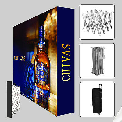 10ft Tension Fabric Pop up banner stand trade show display booth custom graphic