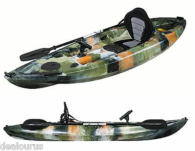 Fishing Kayak Sit-on Jungle Kayak with 5 Rod Holders Deluxe Padded Seat & Paddle