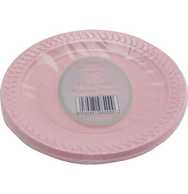"18 x PINK PLASTIC PLATES 18cm 7"" BIRTHDAY PARTY SUPPLIES TABLEWARE DISPOSABLES"