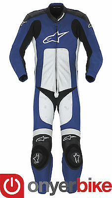Alpinestars Octane 1 One Piece Motorcycle Motorbike Race Leather Suit Blue SALE