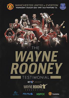 * WAYNE ROONEY TESTIMONIAL - MAN UTD v EVERTON (3rd August 2016) MINT PROGRAMME*