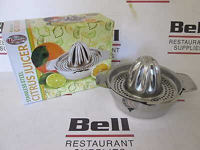 """*new* Winco Jc-4 Stainless Steel 5"""" Round Manual Citrus Juicer / Squeezer"""