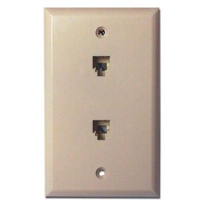 Flush Mount Wall Plate with (2) 4 Wire Phone Jacks, Ivory