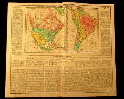 North America & South America 1820 M. Carey large antique map