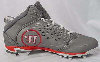 NEW Men's Lacrosse Warrior Players Club Rabil Gray Mid Cut Cleats Size 10.5