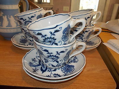 Set of 6 BLUE DANUBE Onion Cups & Saucers