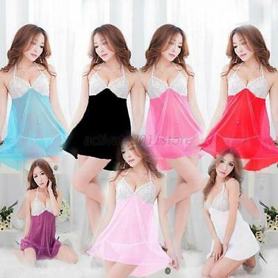 Sexy Lace Lingerie Babydoll Backless Dress/Slip + G-string 8xColours UK Supplier