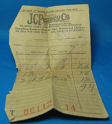 JC Penney 571 Stores A Nationwide Institution Paper Receipt Advertising 1936