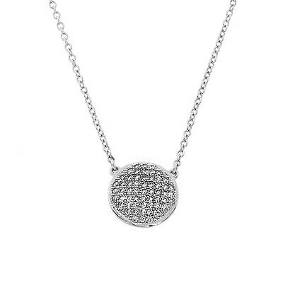 14k White Gold Sterling Silver CZ Micro Pave Halo Necklace Chain Cubic Zirconia