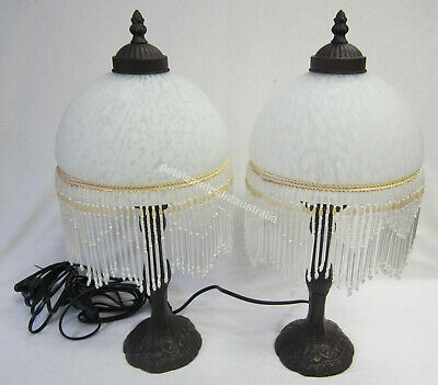 2 Pink Glass Lamps Ornate Beaded & Fringed Table or Bedside Lamp & Brown Base