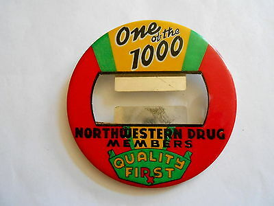 Colorful Vintage Northwestern Drug Co Drug Store Celluloid Pinback Name Badge