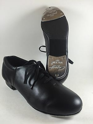 Youth Capezio 10.5 M Tap Dancing Lace Up Black Leather Fluid Tap Shoes-Brand New