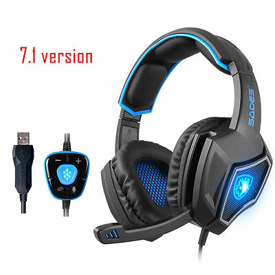 SADES Spirit Wolf Gaming Headset w/ Microphone Headphone Usb LED Razer MSN Skype