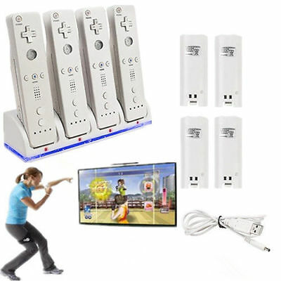 Quad Battery Power Pack White For WII Remote Controller Charger Station Dock