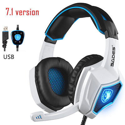 7.1Version SADES Spirit Wolf Earphone Headset USB LED Desktop PC Gaming Headsets