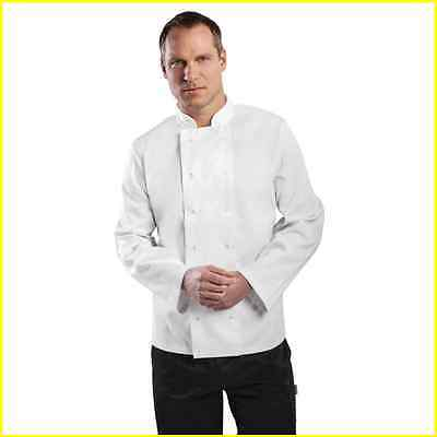 Chef Jacket White Long Sleeve Press Stud Buttons Sizes XS to XXL Cook Uniform