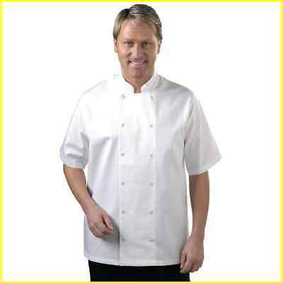Chef Jacket White Short Sleeve Press Stud Buttons Sizes XS to XXL Cook Uniform