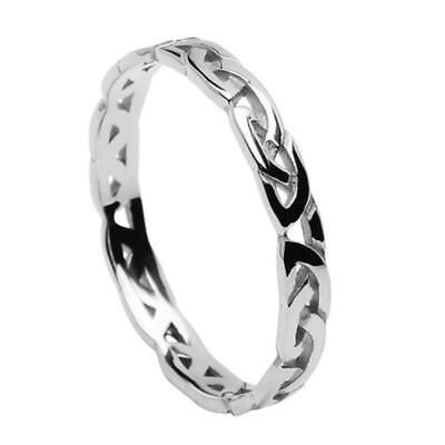 New Ladies 3mm 10ct White Gold Celtic Eternal Knot Ring Made in Ireland Boxed