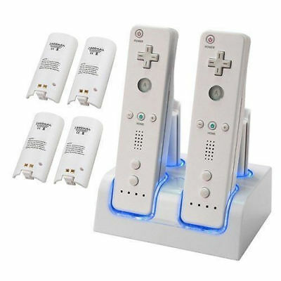 Dual Charger Dock Quad Rechargeable Battery Pack for Nintendo Wii Controller AU