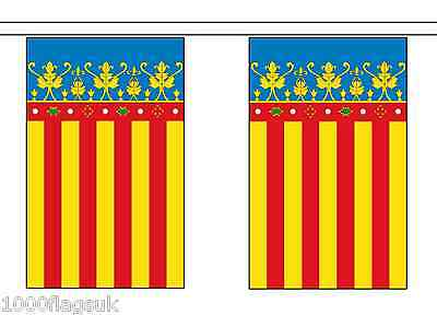 Spain Valencia Polyester Flag Bunting - 3m long with 10 Flags