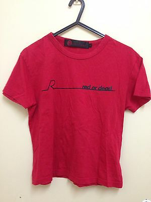 Original Red Or Dead 1990s Indie Kid Uk Brand Logo Tshirt Red Size M