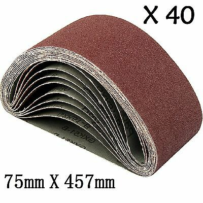 40x Sanding Belts 75X457 mm Mixed Grade 40 60 80 120 Grit Bosch Makita Sander UK