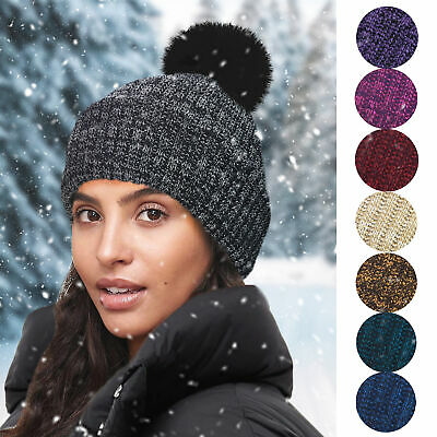 7cc890e60be Ladies Womens Girls Plain Marl Soft Chunky Knit Fleece Lined Winter Bobble  Hat