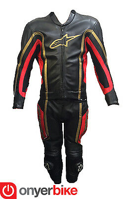 Alpinestars SG-1 2 Two Piece Motorcycle Motorbike Race Leather Suit Red Gold