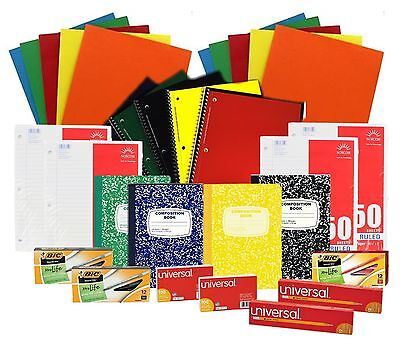 Back to School Pens Pencils Paper Supply Bundle Box (College Ruled)